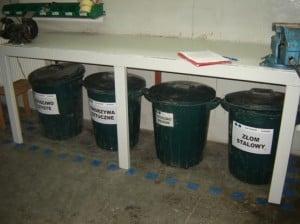 5S systematyka - oznakowanie pojemników na odpady