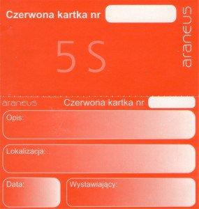 """Rys. 1. """"Czerwona karta"""" – narzędzie stosowane w pierwszym kroku programu 5S"""