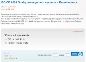 Projekt ISO 9001:2015 w sklepie PKN